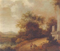 a wooded landscape with travellers resting on a track before a ruin by pieter cosyn