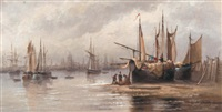 a busy fishing port by jules vernier