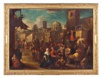 scena di mercato con spettacolo di burattini by giovanni michele graneri