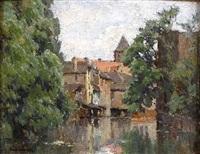 l'ill traversant strasbourg by edouard-gaetan-charles ansaloni
