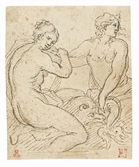 studio per due naiadi con delfino, fine xvi secolo by agostino carracci
