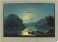 vue du rocher de lurle et de la pêche aux saumons by johann ludwig (louis) bleuler
