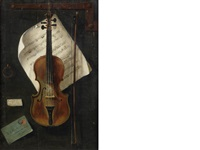 a trompe l'oeuil study of a violin by w.g. becker