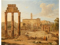 a pair of capriccio views of the forum and the colosseum in rome by gaspare gabrielli