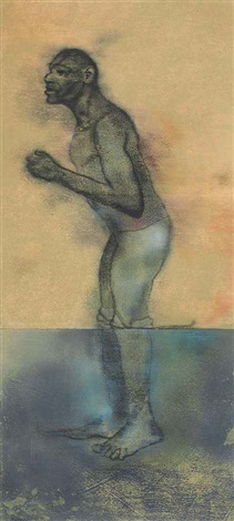 bather (wading) by ronald brooks kitaj