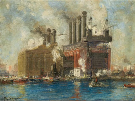 new york city power plant and tugboats by guy carleton wiggins