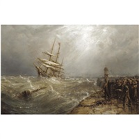 entering the harbour in stormy weather by william webb