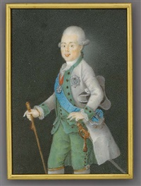 grand duke paul petrovich of russia, tsar of russia as paul i, holding a baton in his right hand, in grey coat, green waistcoat and trousers, frilled cravat, holding a tricorn hat under his left arm by anton friedrich könig