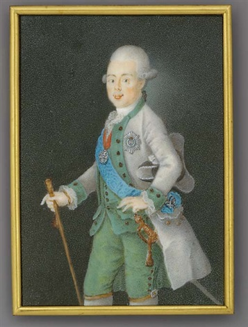 grand duke paul petrovich of russia tsar of russia as paul i holding a baton in his right hand in grey coat green waistcoat and trousers frilled cravat holding a tricorn hat under his left arm by anton friedrich könig