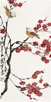 红梅小鸟 (red plum and bird) by qi liangchi