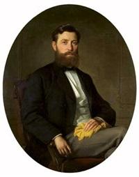 portrait d'homme barbu assis dans un ovale peint by ivan nikolaevich kramskoy