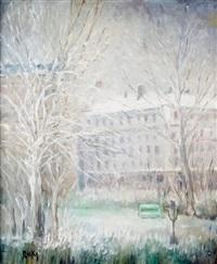 paris, la place adolphe-max et le square hectorberlioz (9e arrondissement) sous la neige by marie madeleine de rasky