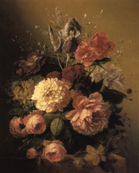 roses, peonies and other flowers in a terracotta vase on a stone ledge by arnoldus bloemers