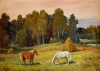 landscape with horses by janis lauva