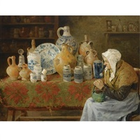 an earthenware store with a lady seated by joseph léopold ratinckx