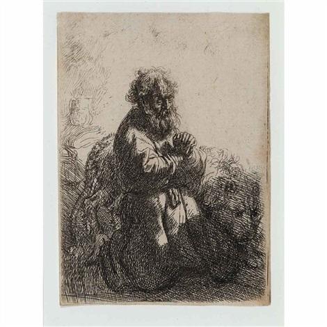 st jerome kneeling in prayer by rembrandt van rijn