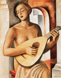 woman with mandolin by jenö gábor