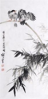 竹雀图 by liu jiyou