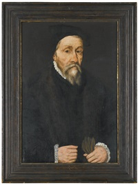 portrait of a gentleman, dressed in black, holding a pair of gloves by willem key