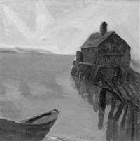 by the dock - a provincetown view by heinrich h. pfeiffer