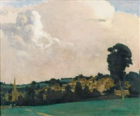 village view from across a field by norman garstin