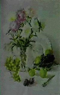 nature morte aux fleurs et plateau de cristal by taissia afonina