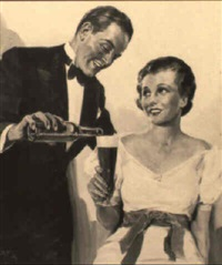 tuxedoed man pouring beer for seated woman by al fisher