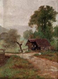 bäuerin beim hühnerfüttern by manfred lindemann-frommel