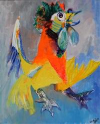 coq aux ailes déployées by bernard lorjou