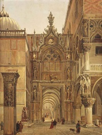 a view from the piazza san marco towards the porta della carta by frans vervloet