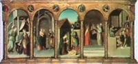 dossale con annunciazione, visitazione, adorazione del   bimbo, circonscisione, disputanel tempio, e i busti di... by pellegrino munari