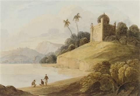 figures by a river with an indian temple beyond by charles sir doyly