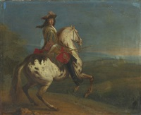 portrait of king louis xiv mounted on a charger before the town of charleroi by adam frans van der meulen