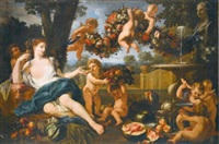 ceres at a fountain, attended by putti by guillaume courtois