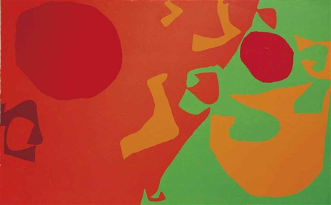 small diagonal with scarlet emerald and orange fragments january 1975 by patrick heron