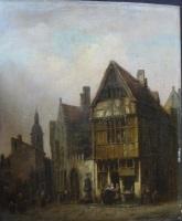 vue d'une rue de ville animée de personnages by ivo ambroise vermeersch