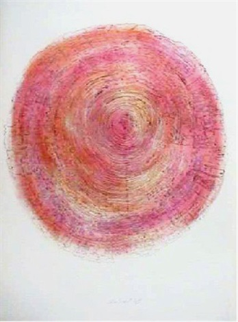 pink yellow green from tree trunk series by alan sonfist