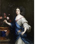 portrait of a lady, three-quarter-length, in a white silk dress and a blue shawl, arranging flowers by pierre mignard the elder