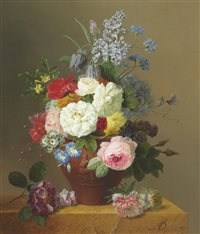 roses, poppies, cornflowers, convulvulus, jasmine, fritilleries, a primula, a peony, and lilac in a terracotta vase with a sprig of roses and other flowers on a stone ledge by arnoldus bloemers