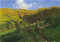 paesaggio con contadine e armenti by achille tominetti