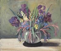 flowers in a glass vase by kathryn woodman leighton