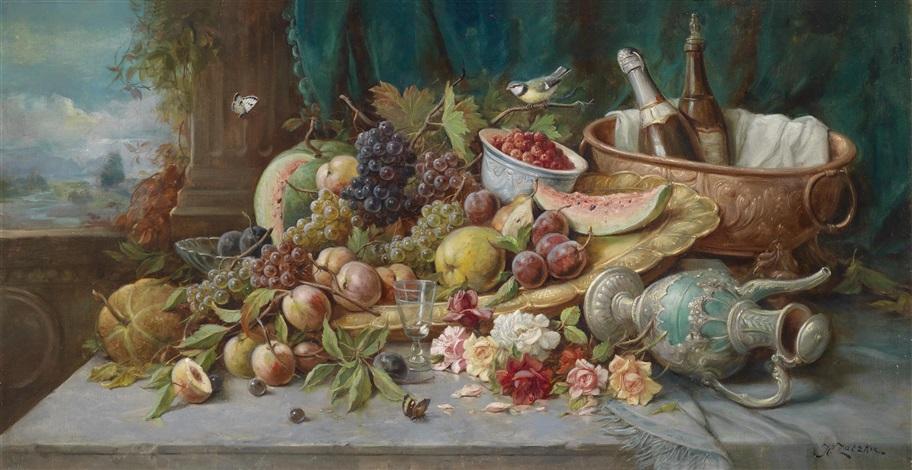 großes früchtestillleben mit weinkühler by hans zatzka
