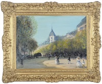a parisian street scene by g. leroux