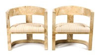 a pair of parchement veneered and lacquered onassis chairs, height 30 inches by karl springer