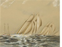 schooners rounding the sandy hook lightship by james edward buttersworth