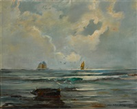 soleil sur la mer, hiver, concarneau by lucien victor félix delpy