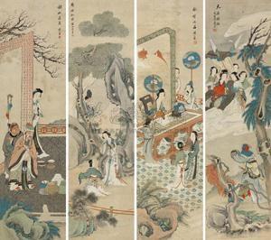人物故事 figure in 4 parts by huang shanshou