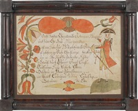 fraktur birth record, with central script flanked on one side by a soldier in a dress uniform with a sword and on the other side by a colorful floral vine by arnold hoevelmann