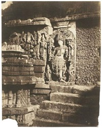 high-relief sculpture and temple steps, india by richard banner oakeley
