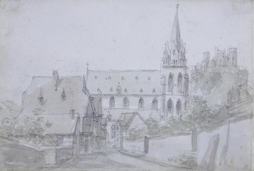 rheinhessischer ort mit gotischer kirche und blick auf eine burgruine by peter becker